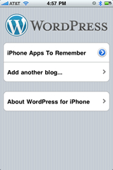 You setup your first blog on the iphone wordpress app